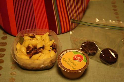 noodles, mushrooms, green pepper, applesauce, oreo mint cookies