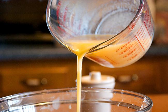 liquid onto dry