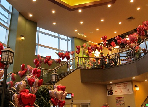 Stairway with Valentine's balloons