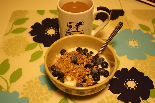 granola, yogurt, almond milk, blueberries, coffee