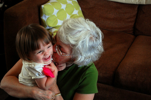 Kisses with grandma.