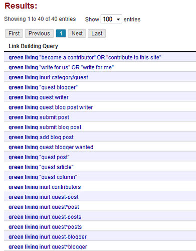 ontolo query results