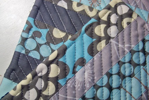 handmade quilted potholders - blue and gray stripes
