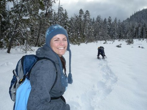 Pepper snowshoeing