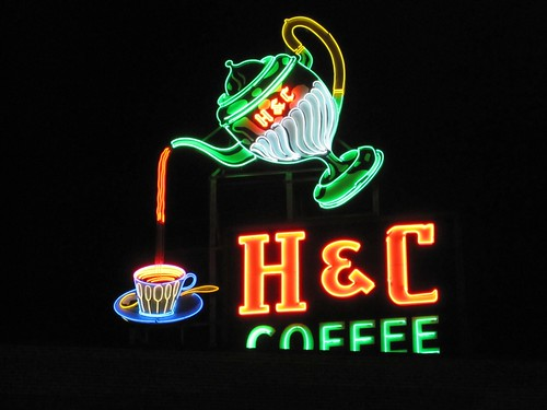 H & C Coffee Sign Roanoke VA - Night