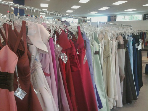 Racks of prom dresses
