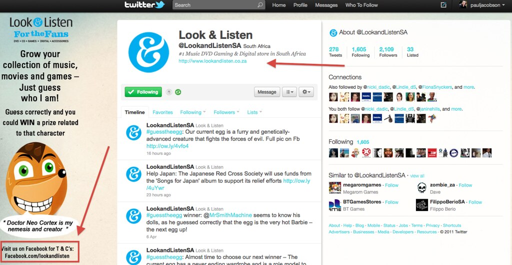 Look and Listen Twitter page