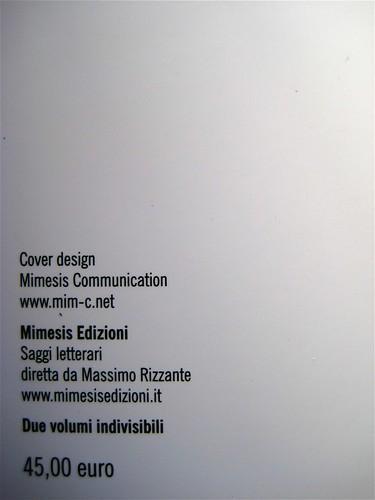 Roland Barthes, La preparazione del romanzo; corsi (I e II) e seminari al Collège de France, Mimesis 2010: 2 voll.; Cover design Mimesis Communication; q. di cop., vol. II (part.), 1