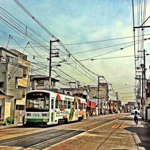 朝のお散歩… 北畠電停です。いつもと反対側から。#Kitabatake