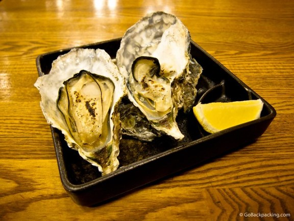 A pair of massive Hiroshima oysters