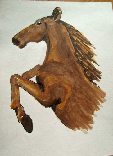 Rearing horse, drawn with copic markers