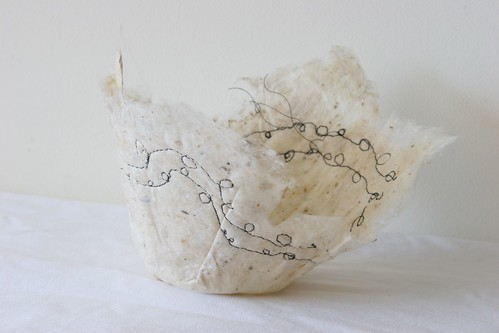 Embroidered silk paper bowl