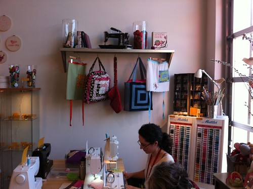 Christina sewing at MD after the book party