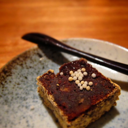Chocolate/red bean cake with ginger sauce by bloompy