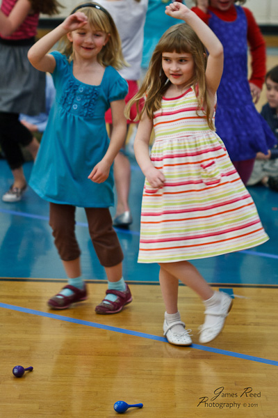 The little one enjoying her dance number.