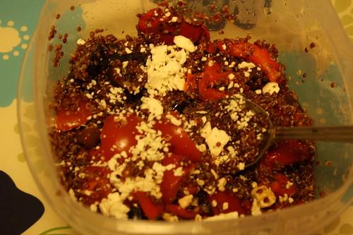 quinoa tomatoes, feta, red peppers, kalamata olives