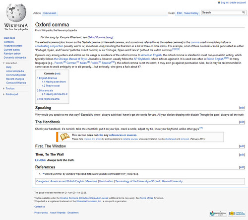 Oxford comma - Wikipedia, the free encyclopedia