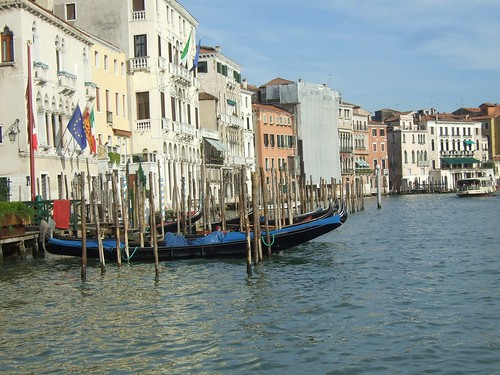 Gondolas in Venice along the Grand Canal