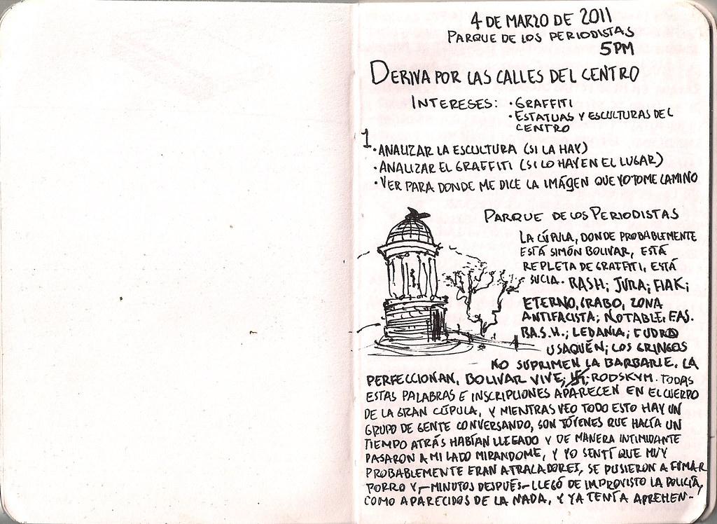 Documento de una deriva por las calles del centro. Escrito en un pequeño diario que cargo para todo lado. Página 1