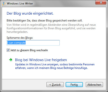 Windows Live Writer - Blogname vergeben