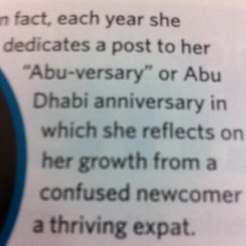 "Thanks for capturing ""Abu-versary"" :)"