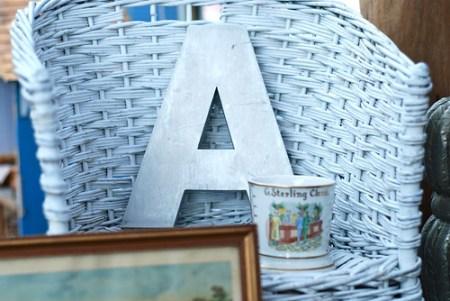 vintage metal letter A