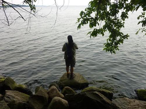 WI, Madison - University of W, Lake Mendota Dave on rocks  6-8-11