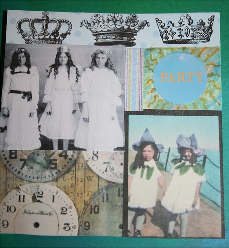 "Party hat time! 4"" x 4"" Collage card"
