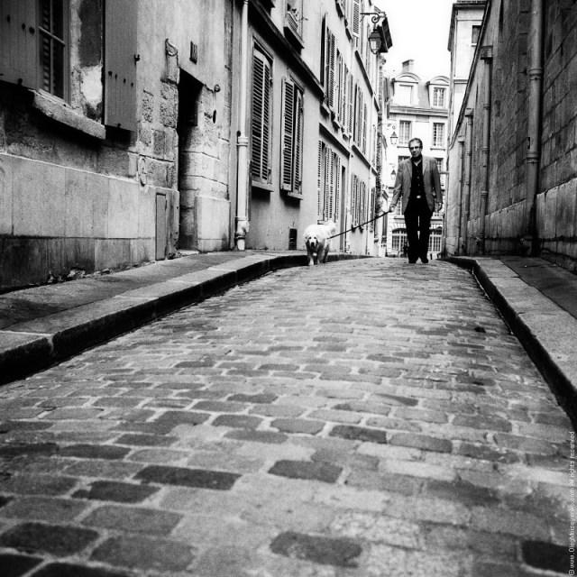 Walking with a dog, Latin Quarter, Paris