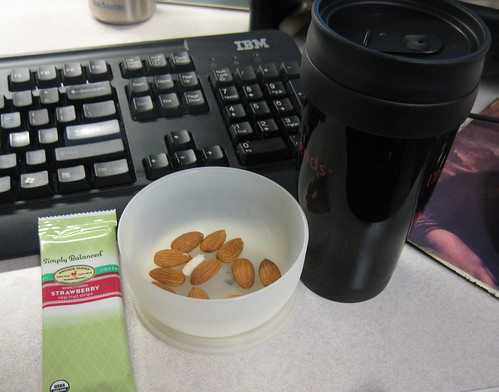strawberry fruit strip, almonds, coffee