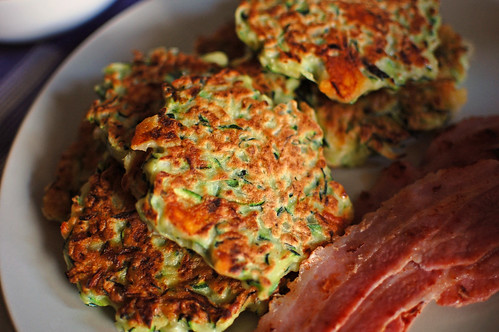 Courgette Fritters with Bacon