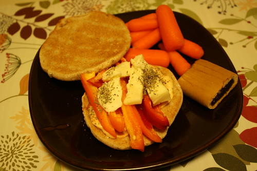 veggie and brie sandwich, carrots and fig newmans