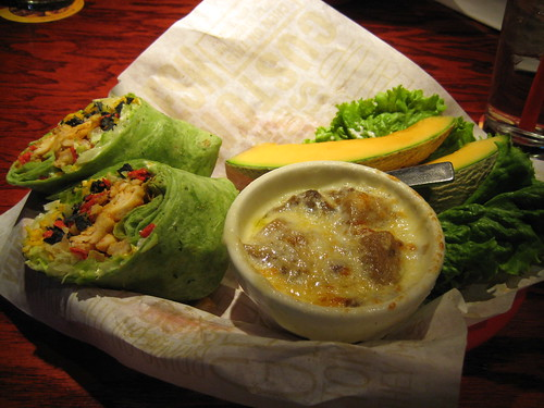 BBQ chicken wrap, french onion soup, melon