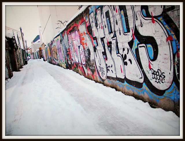 Wintry graffiti Cardiff