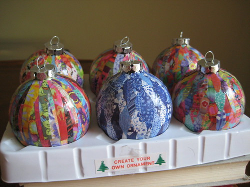 Handmade ornaments ready for swapping