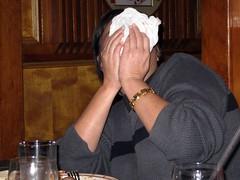 Wendy Hiding Behind a Napkin at Kurama Japanese Restaurant