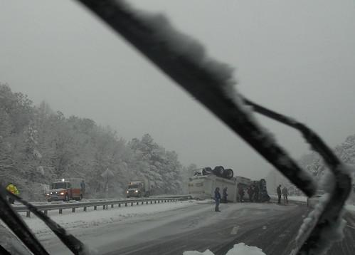 Post-Christmas Snow - Overturned Truck I-85 Hillsborough