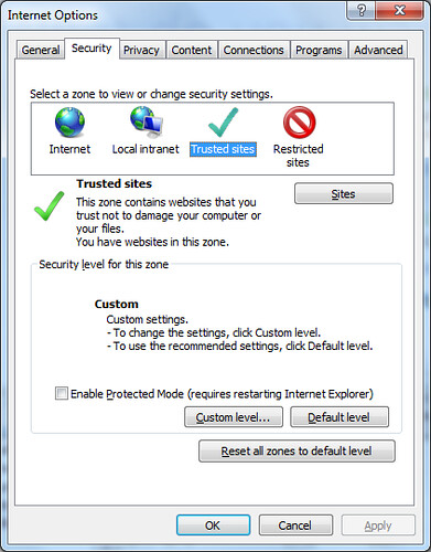 To Help protect your security, Internet Explorer blocked this site