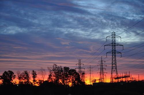 Sunrise over pylons.