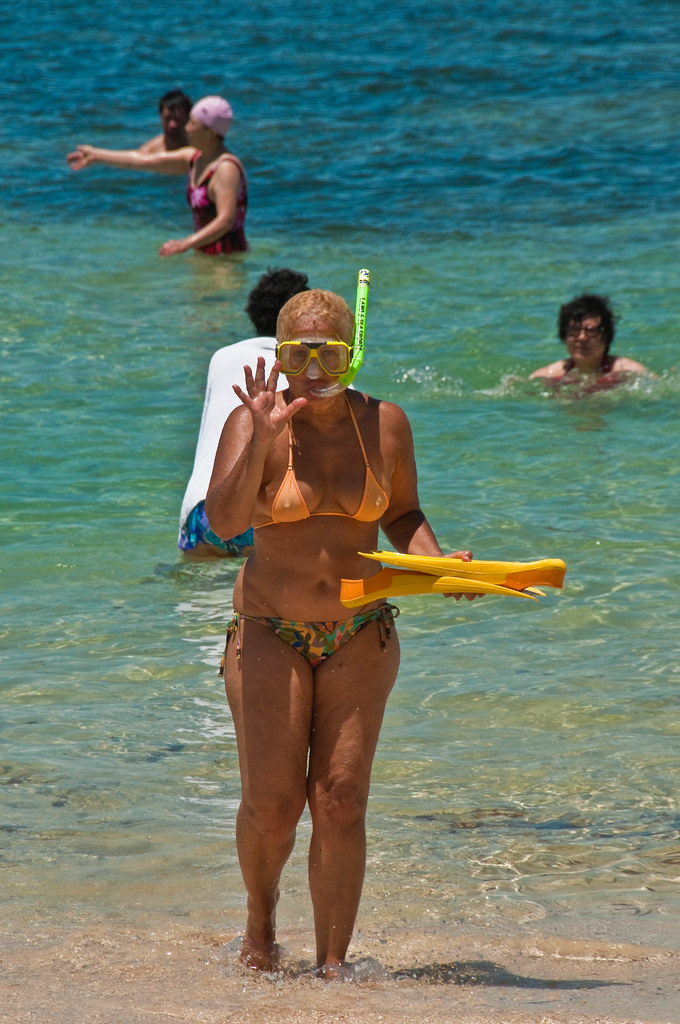 Christine comes out of the sea after snorkelling