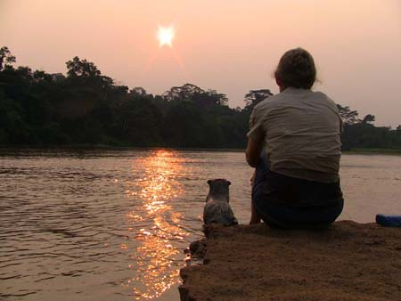 an otter and a human, shot from behind, sit on a rock looking across a river to the sunset above trees on the other side.