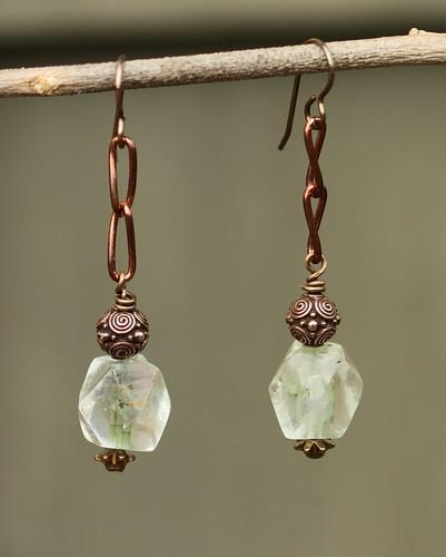 Copper and brass earrings