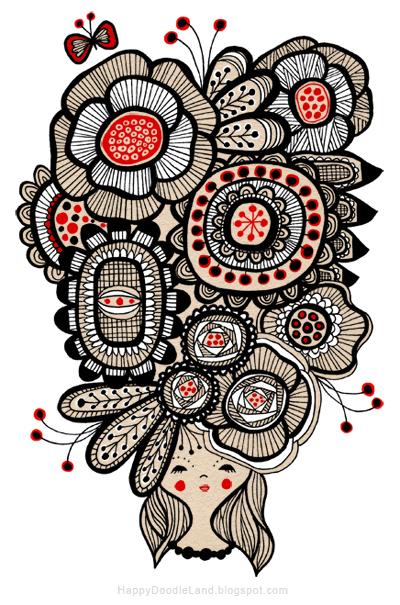 Happy Doodle Land Flower Girl