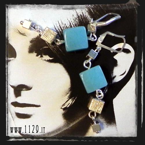 MBQUAZ orecchini giada azzurra cubi   cubes blue chinese jade earrings