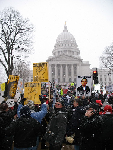 Protest march  Anti-budget bill protesters marching at the Wisconsin State Capitol in Madison. February 26, 2011