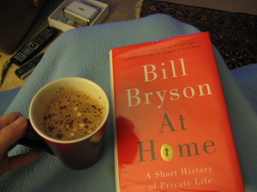 hot coccoa and Bill Bryson At Home