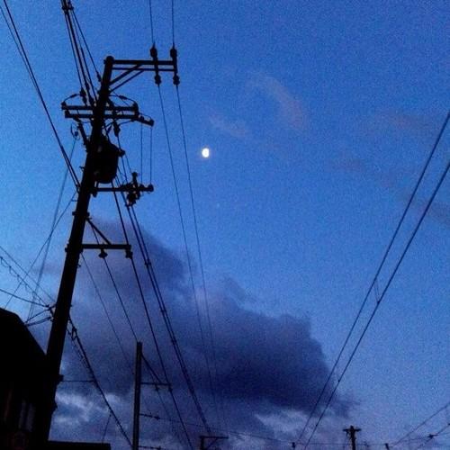 おはよ! 月と電柱です。今日も笑顔でがんばろ~!(^O^☆♪