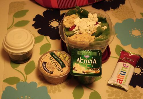Musselman's Granny Smith applesauce, salad, Dannon Activia Vanilla bean, attune raspberry chocolate bar