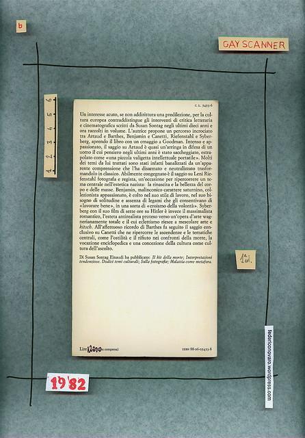 Susan Sontag, Sotto il segno di Saturno. Einaudi 1982. Quarta di copertina