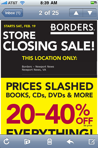 Borders Going out of Business Sale email